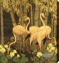 Flamingos in Paradise by Jessie A. Botke - Stretched Canvas Art Print