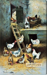 Chickens at Home by Remlure - Stretched Canvas Art Print
