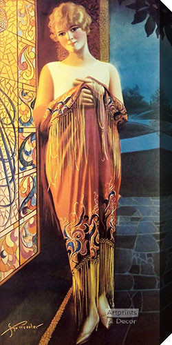 Deco Lady by Gene Pressler - Stretched Canvas Art Print