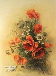 Daisies & Poppies by W. C. Addison - Art Print