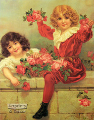 A Basket of Roses - Art Print
