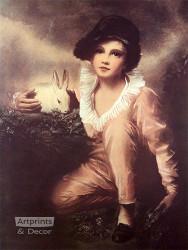 Boy with Rabbit - Art Print