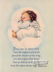 Jesus once an infant small - Art Print