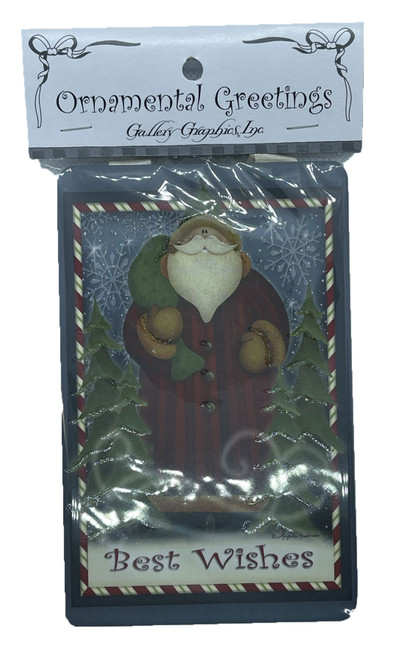 Best Wishes Santa Ornamental Greeting Combination Gift Tag Ornament