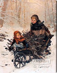 Bringing Home the Christmas Firewood by E. Blume Siebert - Stretched Canvas Art Print