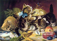 Lunch with kitties - Framed Art Print