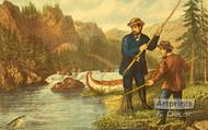 Salmon Fishing - Framed Art Print