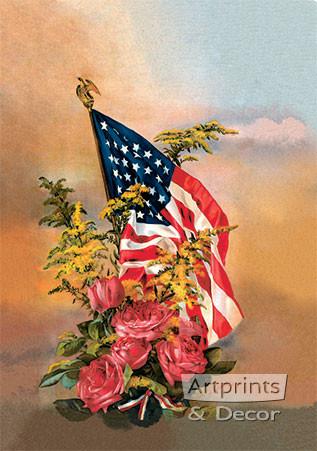 8b386e1cbeb7 America s Flag   Flowers from Gallery Graphics - Art Print