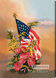 America's Flag & Flowers from Gallery Graphics - Stretched Canvas Art Print