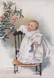 The First Christmas by Maud Humphrey -  Art Print