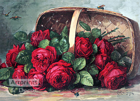 Basket of Beauties by Paul de Longpre - Framed Art Print