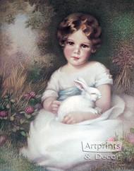 Girl and Rabbit by Annie Benson Müller - Art Print