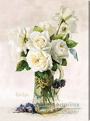White Roses by Paul de Longpre - Stretched Canvas Art Print