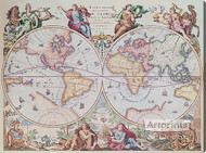 World Map 1792 - Stretched Canvas Art Print