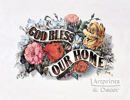 God Bless Our Home Framed Art Print By Currier Amp Ives At
