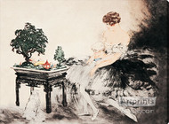 Le Jardin Japonais by Louis Icart - Stretched Canvas Art Print