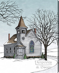 The Old Country Church by Terry Lombard - Stretched Canvas Art Print