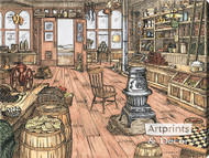 The Mercantile Store by Terry Lombard - Stretched Canvas Art Print
