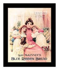 Blue Ribbon Bread - Vintage Ad - Framed Art Print