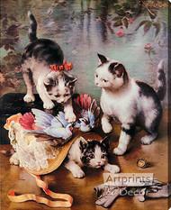 Mischievous Kittens by C. Reichert - Stretched Canvas Art Print