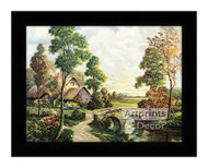 The Cottage by the Bridge - Framed Art Print