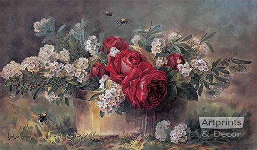 A Basket of Beauties by Paul de Longpre - Framed Art Print