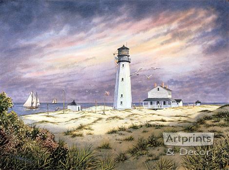 Cape Henlopen Lighthouse by William S. Dawson - Framed Art Print