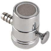 "Aerator Water Filter Adapter With Diverter 1/4"" Barb Chrome Finish"