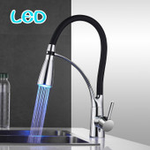 LED Kitchen Faucets  Rubber Design Chrome Faucet  Sink Mixer Tap
