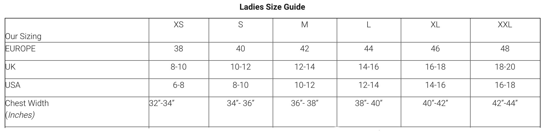 Aran Craft Sweaters Size Guide