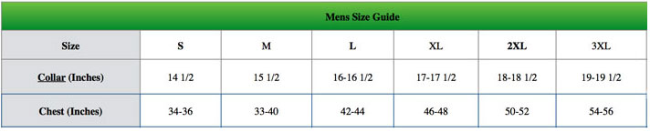 Champion Clothing Mens Size Guide