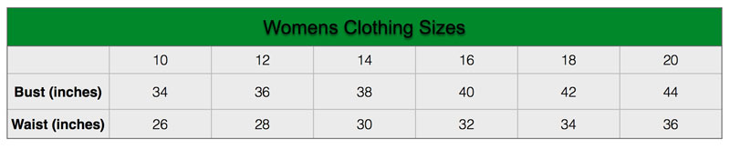 Hoggs of Fife Size Guide for Womens Clothing