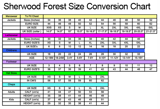 Sherwood Forest Clothing Size Guide