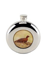 Shooting Gift ideas - Round hip flask with grouse design