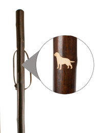 Classic Canes Chestnut Hiking Staff with Labrador Engraved Motif