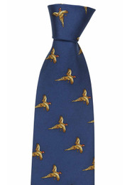 Silk Tie - Blue flying pheasants