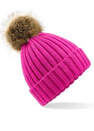 Faux fur pom pom beanie hat