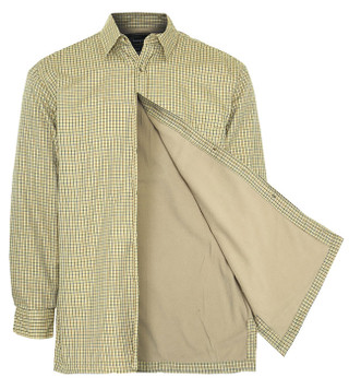 Mens Fleece Lined Shirts - Stone