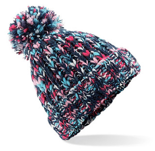 Heavy Knit Beanie Hat with Pom Pom