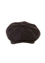 Scott Harris Tweed Newsboy Cap - Brown/Black Herringbone