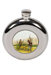 4.5oz Round Hip Flask with Shooting Motif