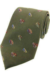 Country Fishing Flies Silk TIe