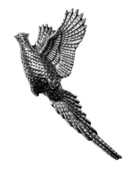 Raising Pheasant Pewter Pin