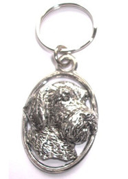 Wire Hair Head Pewter Keyring