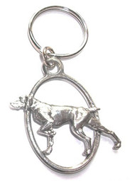 Pointer Pewter Keyring