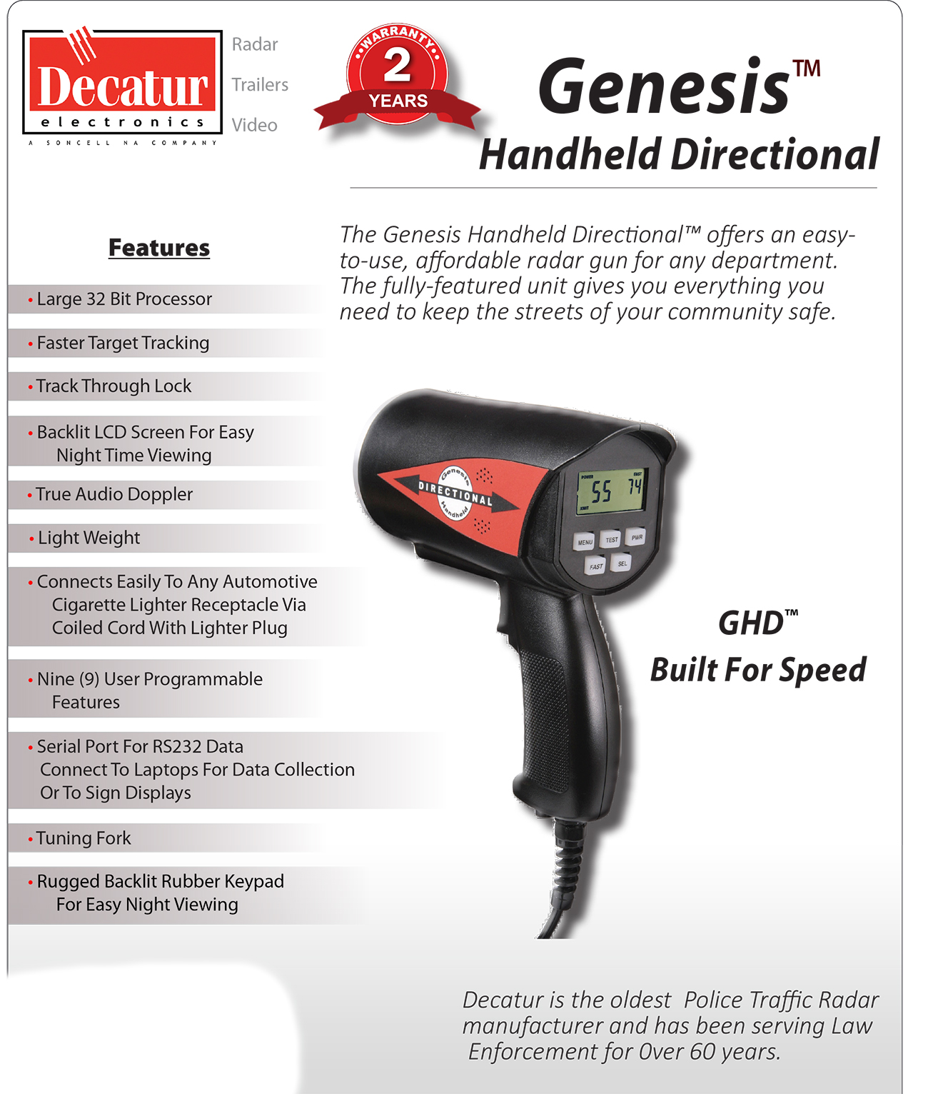 Decatur Police Traffic Radar Gun GHD Genesis Handheld
