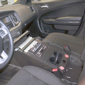 JottoDesk Dodge Charger Police Equipment Console Integrates a Pentax/Brother PocketJet 6 Thermal Printer
