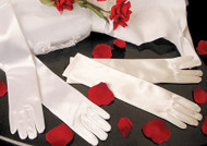 Elbow Length Satin Gloves For Communion | White Gloves For Flower Girls