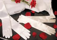Elbow Length Satin Gloves For Communion | White Gloves For Flower Girls