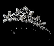 Girls Tiaras - Flower Girls Pearl and Rhinestone Tiara - CR-HPC760